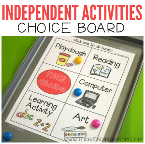 Independent Activities Choice Board {FREE}