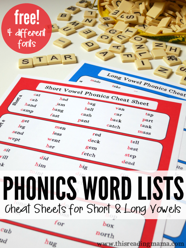 Phonics Word Lists – Cheat Sheets for Short & Long Vowels
