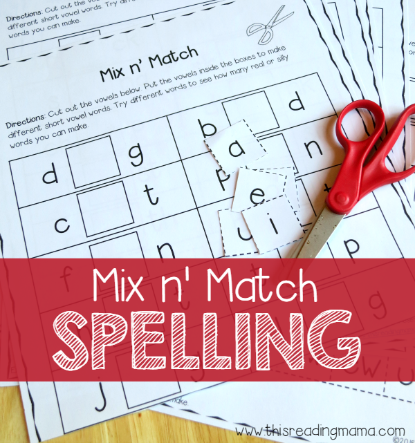 Mix n' Match Spelling Activity Pack - phonics learning - This Reading Mama