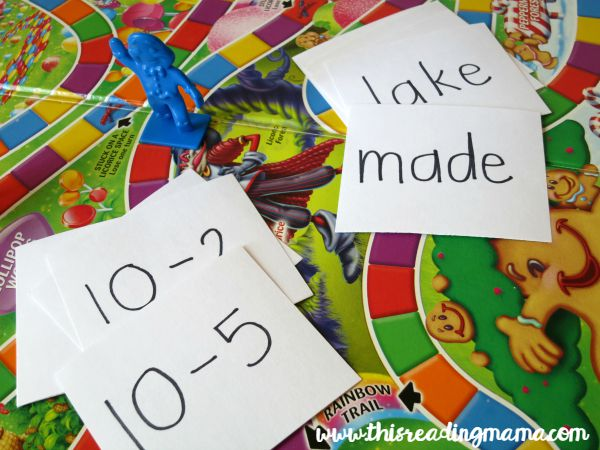 add flash cards to a board game for extra learning