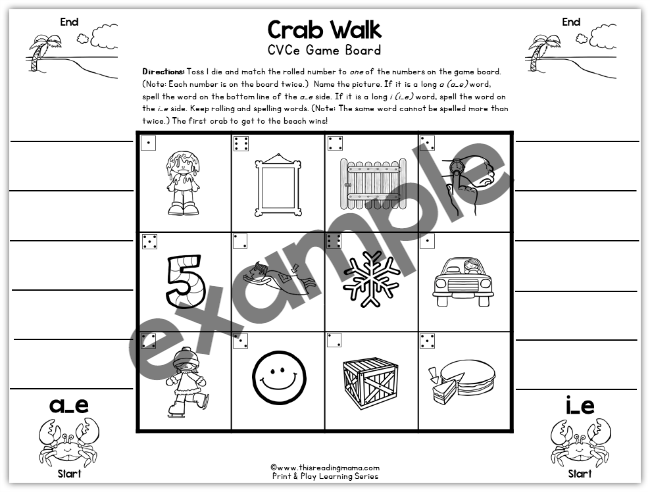 Long a and Long i Print and Play Game Example