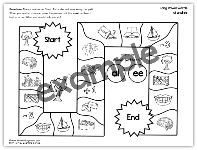 Long ai and Long ee Print and Play Game Board
