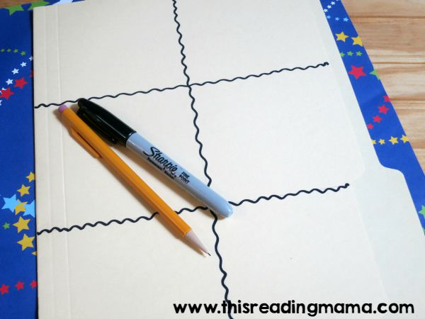 drawing permanent lines on the word wall folder