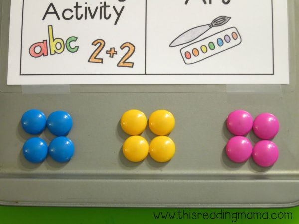 each child has their own color Power Magnet for independent activities choice board