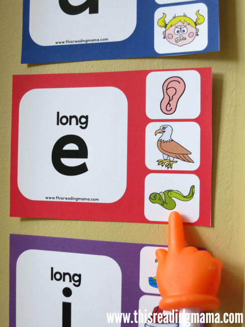 long vowel wall charts hung on the wall