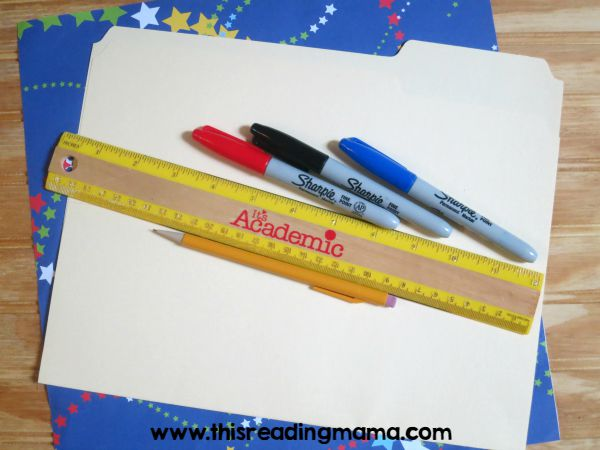 materials for word wall folder