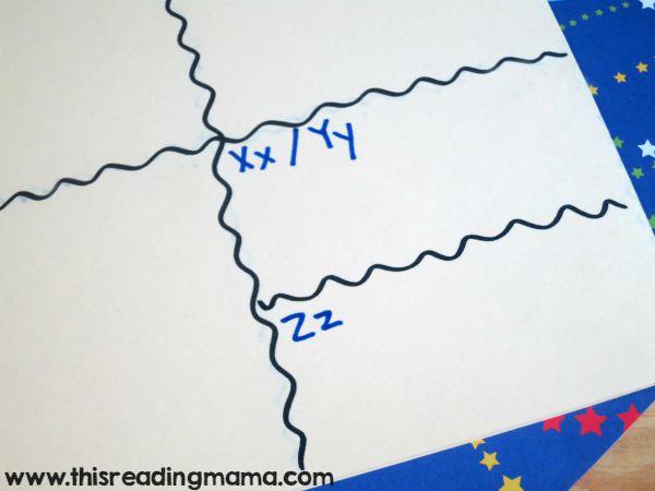 writing letters on word wall folder - x-y-z