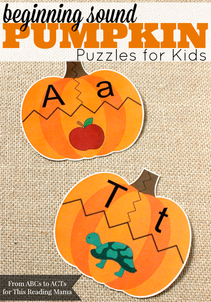 Beginning Sound Pumpkin Puzzles for Kids {FREE} | ABC's to ACT's for This Reading Mama