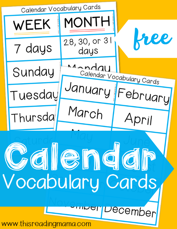 Calendar Vocabulary Cards