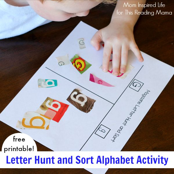Magazine Letter Hunt and Sort Alphabet Activity with free printable | Mom Inspired for This Reading Mama