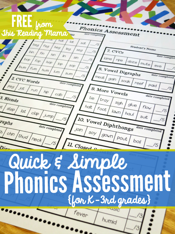 FREE Phonics Assessment for K-3rd grades