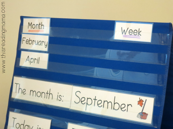 calendar vocabulary cards in pocket chart