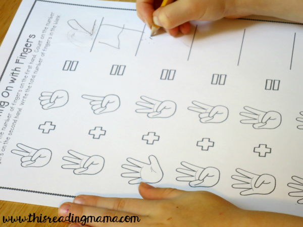 counting on with fingers worksheet
