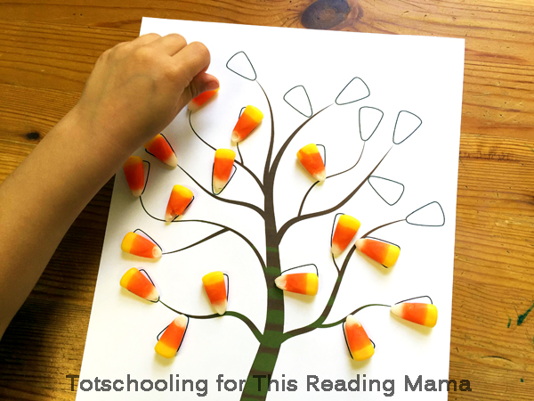 fall tree candy corn activity - Printing Activities For Preschoolers