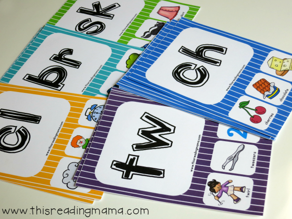 free color-coded phonics cards for blends and digraphs