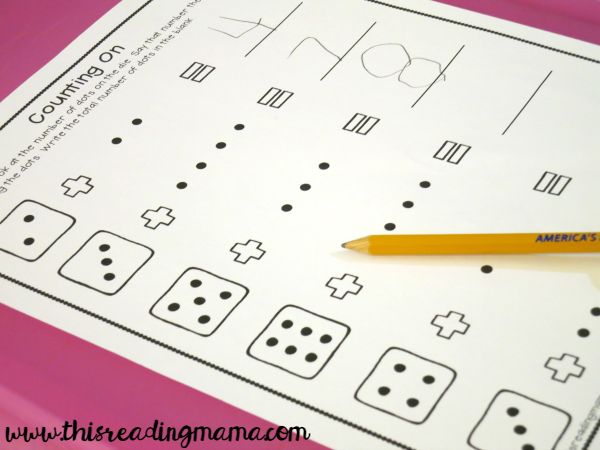 practicing counting on with dice and dots