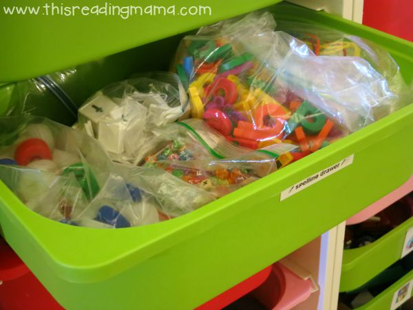 spelling drawer with spelling manipulatives