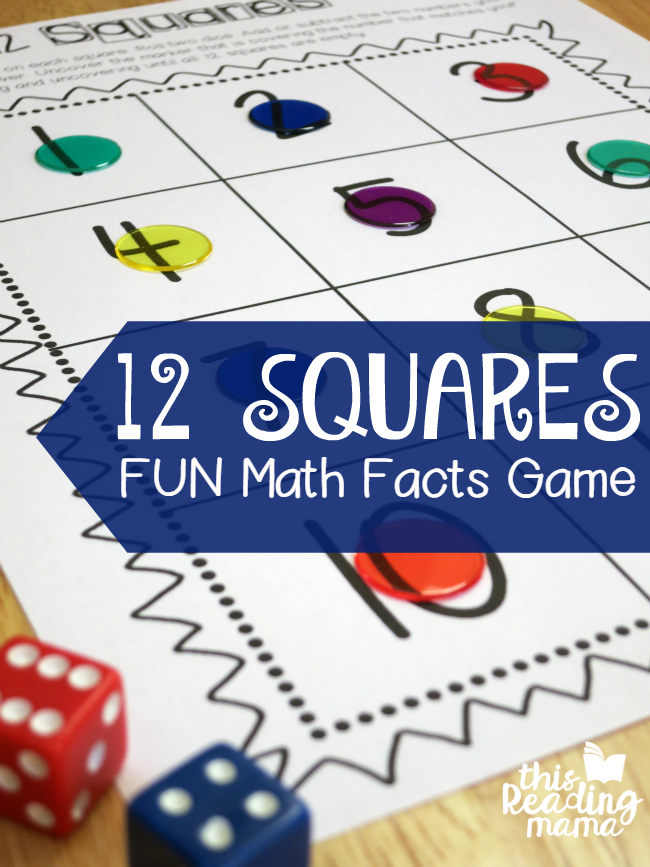 12 Squares- FREE Math Facts Game - This Reading Mama