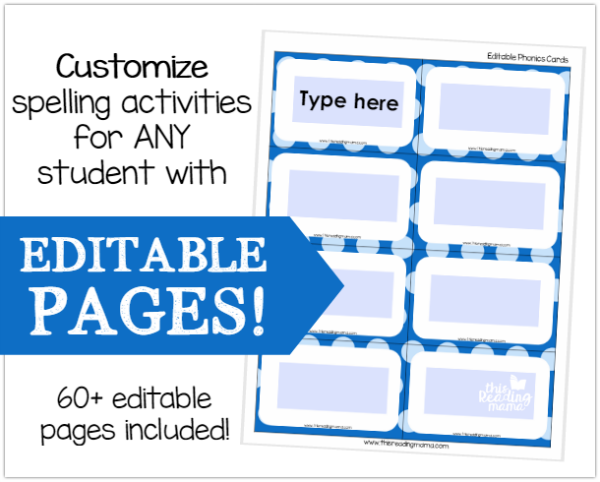 Customize Spelling Activities with Editable Pages