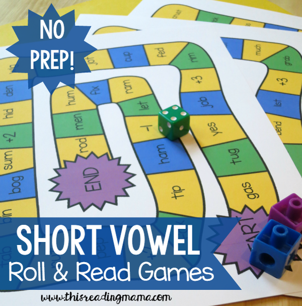 FREE Short Vowel Roll and Read Games from This Reading Mama
