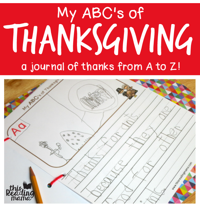 My ABCs of Thanksgiving Journal from This Reading Mama