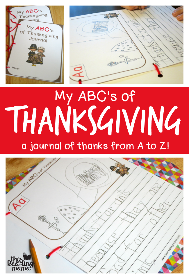 My ABCs of Thanksgiving Journal - FREE printable journal from A to Z | This Reading Mama