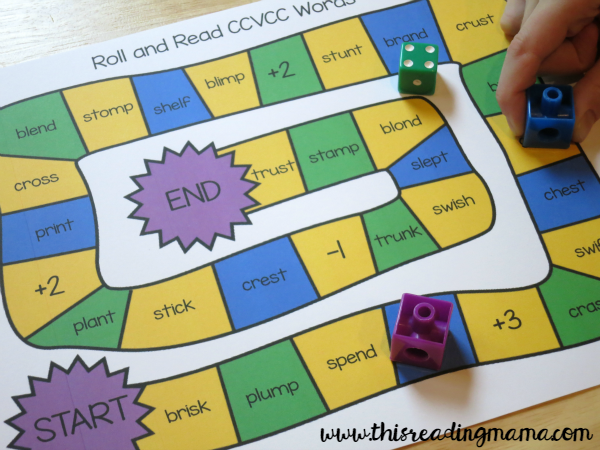 Roll and Read Short Vowel Game for Longer Words