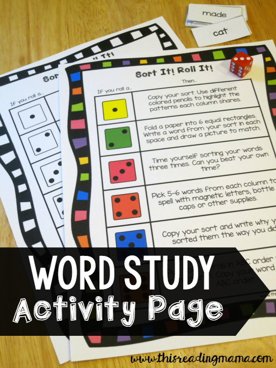 Word Study Activity Page - Ideas for After the Sort