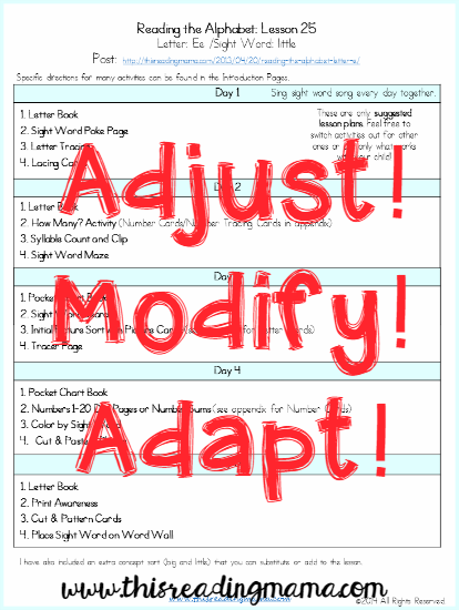 adjust, modify, and adapt lesson plans
