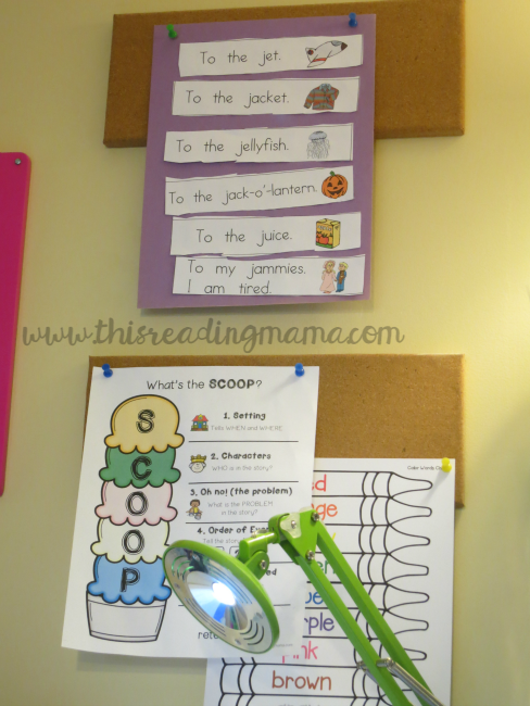 displaying work above her desk from Reading the Alphabet