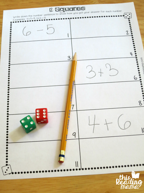 recording sheet for number sentences from math facts