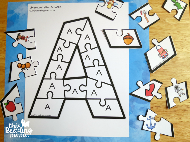 image about Letter Recognition Games Printable called Printable Alphabet Puzzles Higher and Lowercase Letters