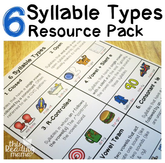 6 Syllable Types Chart and Pack {FREE} - This Reading Mama