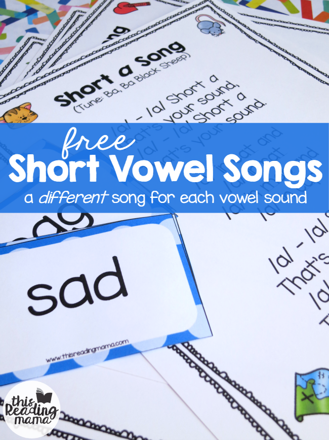 FREE Short Vowel Songs to Familiar Tunes