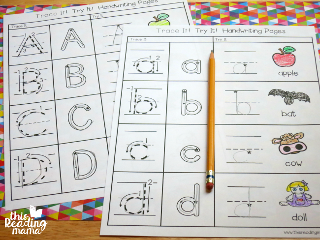 Trace and Try Letter Handwriting Pages - This Reading Mama