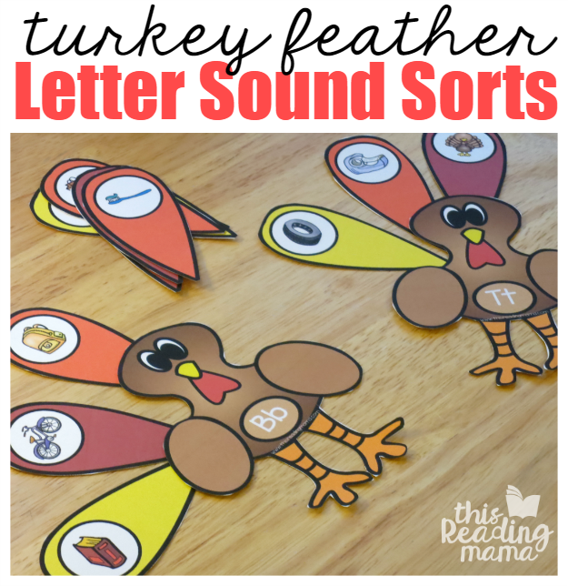 Turkey Feather Beginning Sound Sorts - This Reading Mama