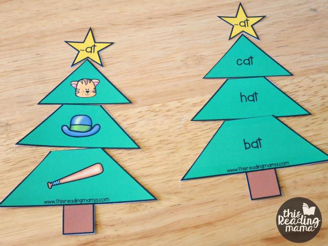 at word family Christmas trees printable