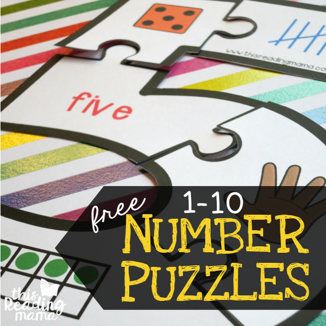 FREE Number Puzzles for numbers 1-10 from This Reading Mama