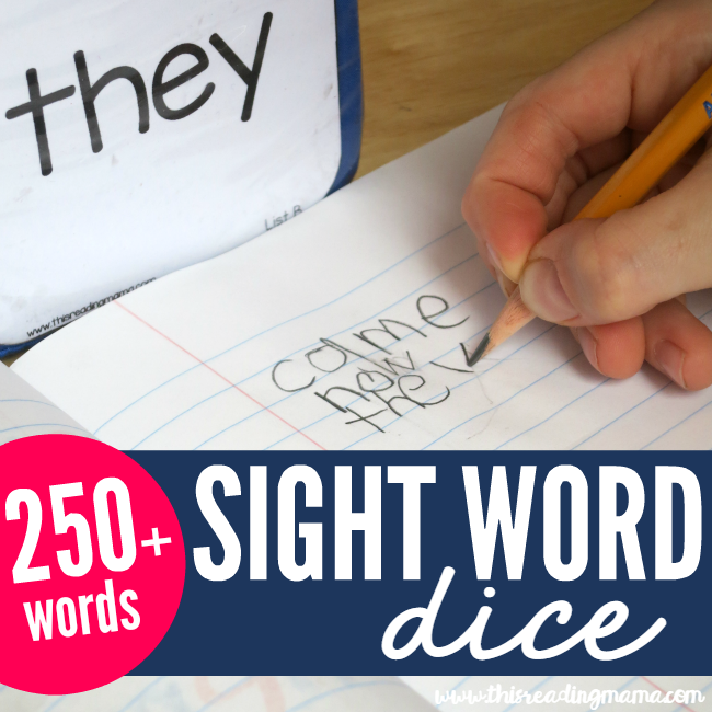 Free Sight Word Dice - 250+ words included - This Reading Mama