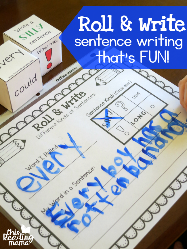 Roll and Write - Sentence Writing That's Fun - This Reading Mama