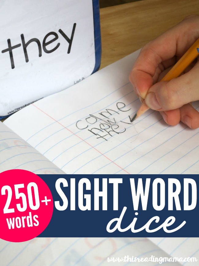 Sight Word Dice - over 250 words included {FREE} - This Reading Mama
