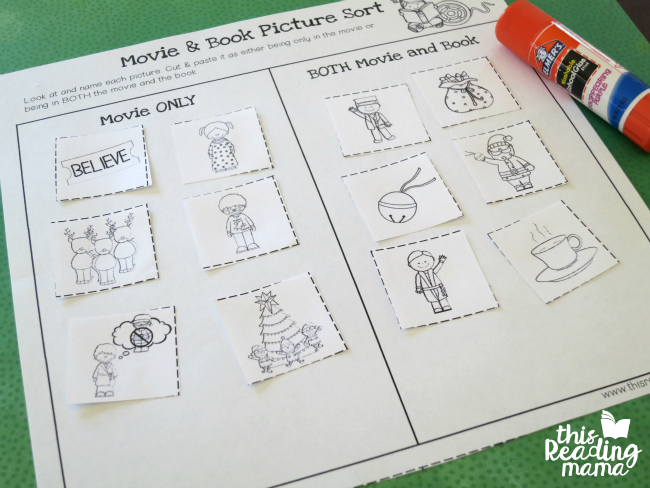 comparing movie and book activity page for Polar Express