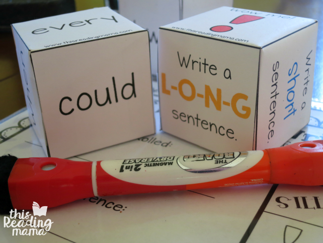 fun learning cubes for sentence writing