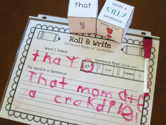 silly sentence writing with sight words