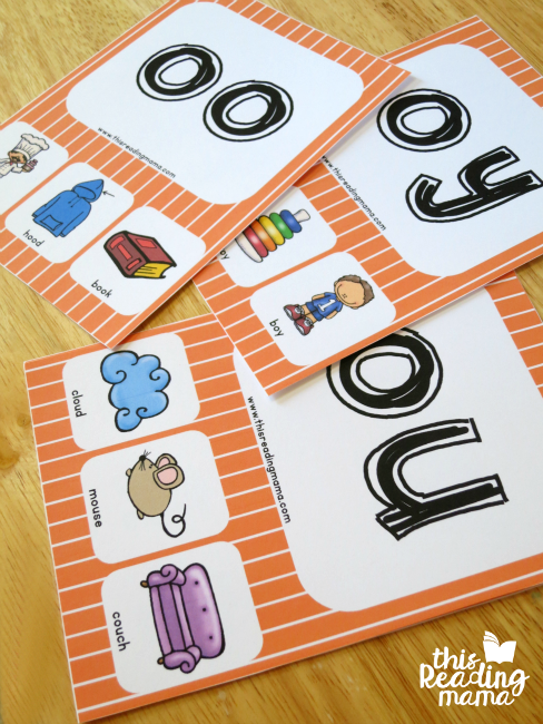 vowel diphthongs phonics cards