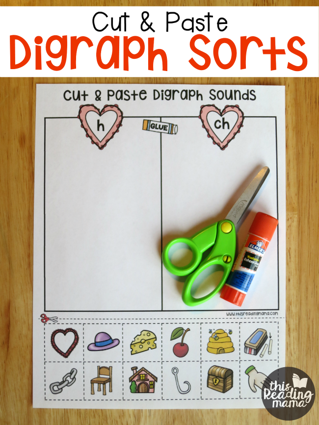 Free Cut and Paste Digraph Sorts from This Reading Mama