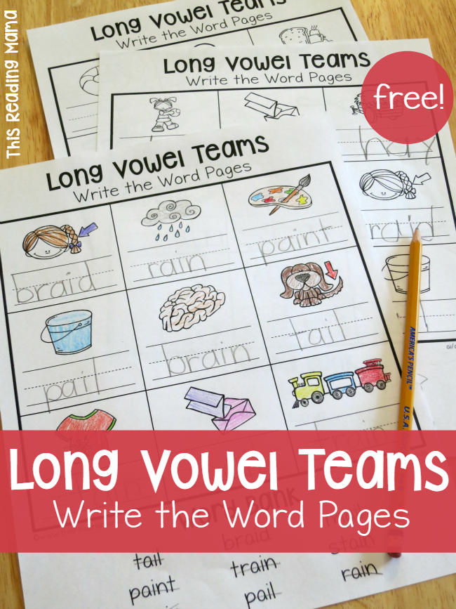 Long Vowel Teams Worksheets: Write the Word Pages