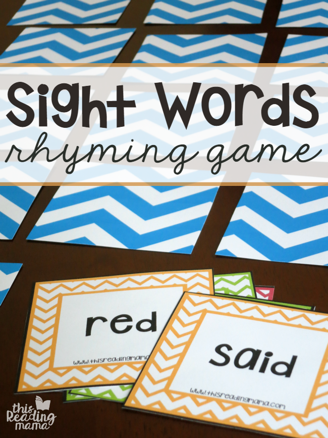 FREE Sight Words Rhyming Game - Match n' Mix - This Reading Mama