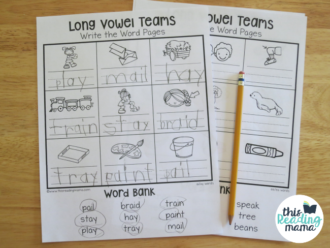 Long Vowel Teams Worksheets - Mixed Review - This Reading Mama
