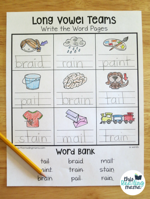 Long Vowel Teams Worksheets for individual vowel teams